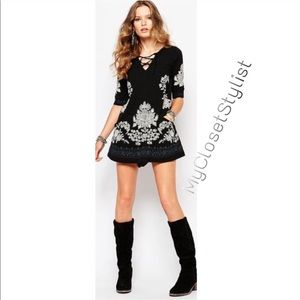 Free People NWT EMBROIDERED black lace-up dress! S