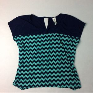 Navy blue and mint green chevron  top