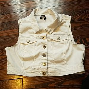 Highway Jeans Jackets & Blazers - White Cropped Vest