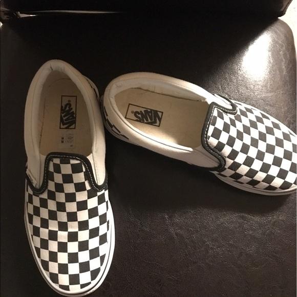 Checkered Slip Ons Kids 3 Womens