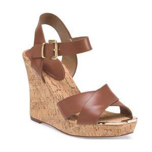 Charles David Shoes - NIB Brown Leather Metallic Gold Cork Wedge Sandals
