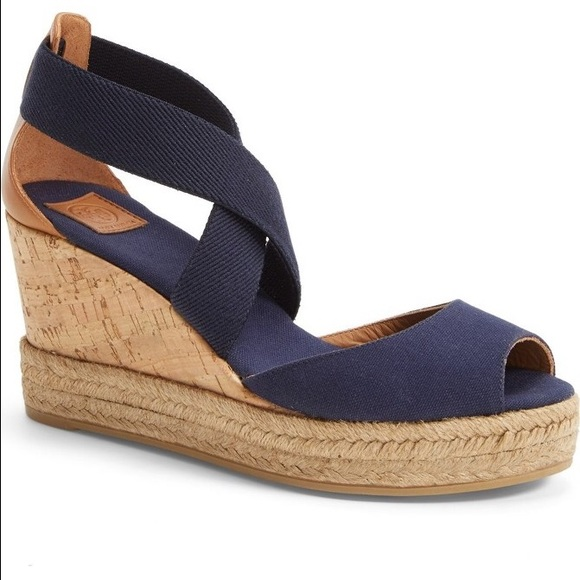 d5929a974 Tory Burch Shoes - 🌴TORY BURCH peep toe cork espadrille wedges -Blue