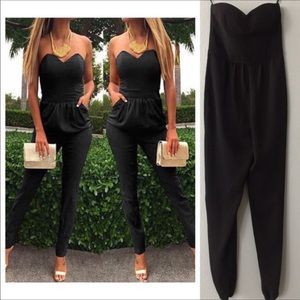 Twelve street black strapless Jumpsuit size 2 NWOT