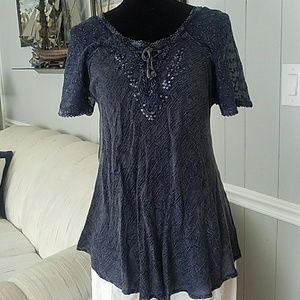 Advance Apparels Tops - Distressed Navy Top (( ADORABLE))