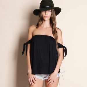 Off Shoulder Tie Sleeve Top