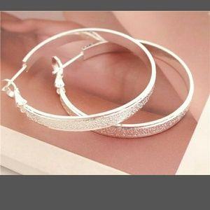 Jewelry - 925 Sterling Silver Fashion Scrub Jewelry Hoop Dro