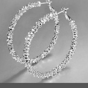 Jewelry - Bling sparkle, oval earrings. 925 SS Silver