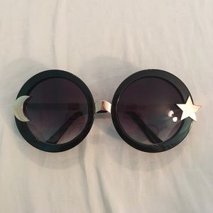 zero uv Accessories - Black Round Star and Moon Sunglasses