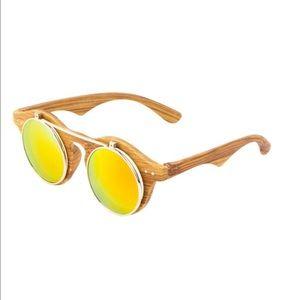 Wooden Frame Flip Sunglasses