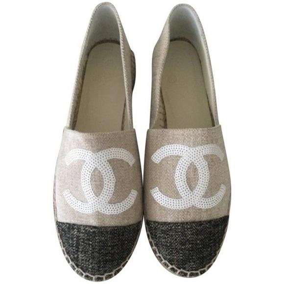 CHANEL Shoes - Chanel Sequin Logo Canvas Espadrilles Flat Shoe 10