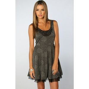 Free People Dresses & Skirts - Free People Gray Rose Fit & Flare Sleeveless Dress