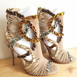 Jimmy Choo Shoes - Jimmy Choo 'Elba' Jeweled Suede Sandal Booties