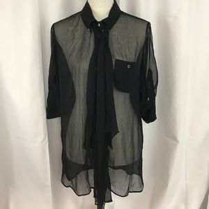 Adam by Adam Lippes Tops - Adam Lippes sz10 black silk sheer button down top