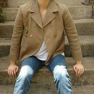 MaxMara Jackets & Blazers - 'S Max Mara Brown Burlap Looking Blazer Sz 4