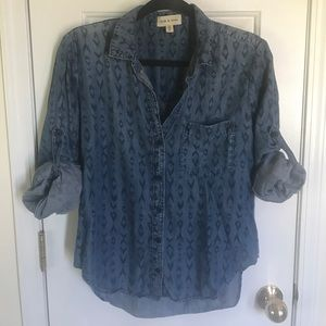 Cloth & stone Tencel chambray roll up sleeve top M
