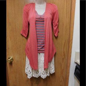 Tops - Spectacular Pink Blouse W/Gray Stripes &Butterfly