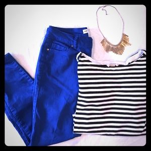 Artisan Ny Denim - Cobalt blue skinny ankle jeans