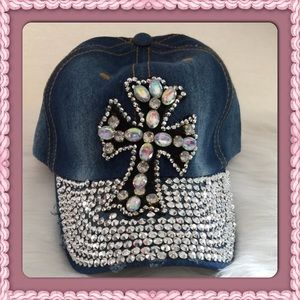 Passion of Essense Accessories - Distressed Bling Cross Cap