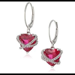 Sterling Silver Ruby&Sapphire Heart Earrings