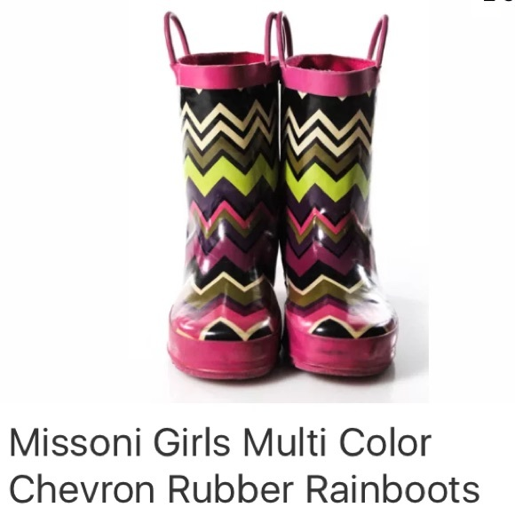 Missoni Other - MISSONI GIRLS MULTI COLOR CHEVRON RUBBER RAINBOOTS