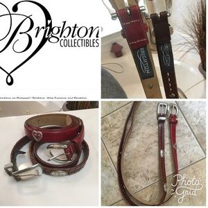 2 Brighton leather belt bundle Brown &Red Sz M