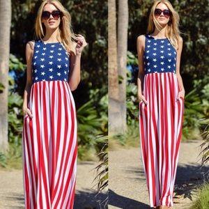 Lulu's Dresses & Skirts - American Flag Maxi dress with pockets
