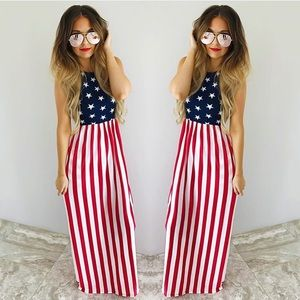 American Flag Maxi dress with pockets