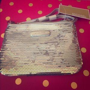 MICHAEL Michael Kors Handbags - Michael Kors Silver Sequin Wristlet