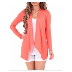 Peach Sidetail Open Cardigan