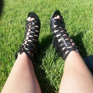 ASOS Leather Laced up Wedges