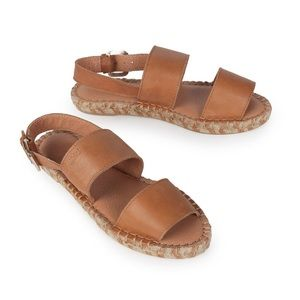 New In Box Double Strap Leather Espadrille Sandals