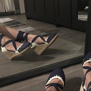 Blue Lace up Espadrille Wedge Sandals