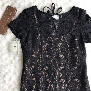 LOFT Lace Crocheted Shift Dress with Slip