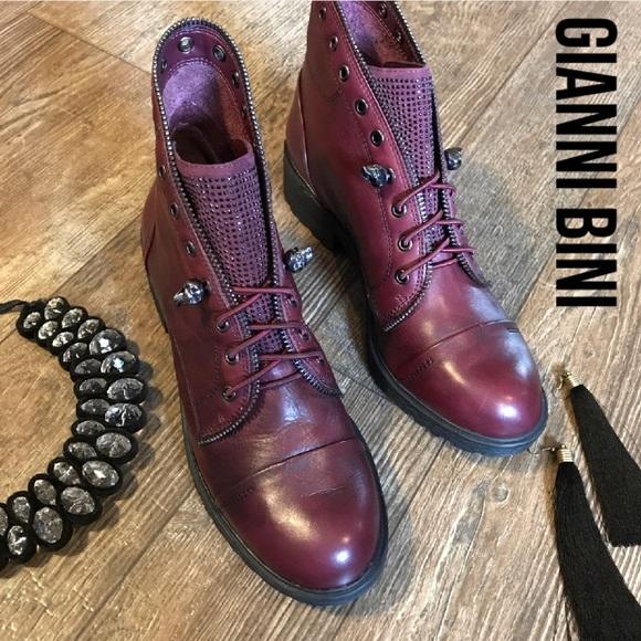 d05c78e1e2a Gianni Bini Shoes - Gianni Bini Distressed Leather Skull Crystal Boots