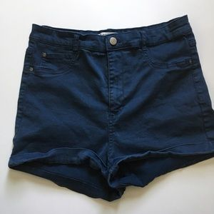 "Pull&Bear Pants - Women Stretch Shorts Size 8 Navy Blue 2"" Inseam"