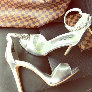 Ann Michell Shoes - Silver open toe heels