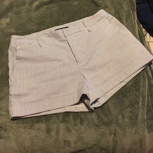 Navy and white striped shorts