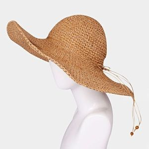 Accessories - 1 HR SALE NWT FLOPPY STRAW SUN HAT - TAN
