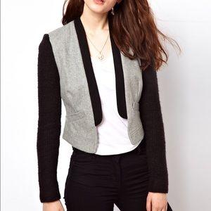 Grey and black sweater blazer