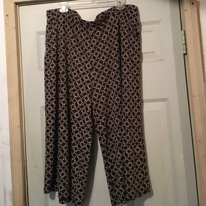 Brown print gauchos with side slant pockets