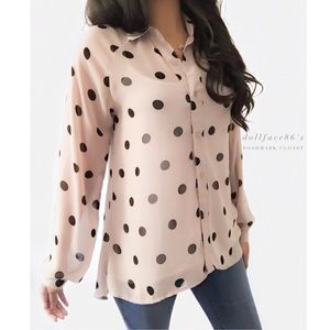Two by Vince Camuto Tops - Vince Camuto Tan + Black Polkadot Billowy Top