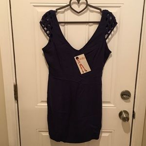 Navy blue mini dress with cut out details