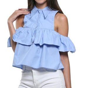 Tops - Light blue off shoulder top