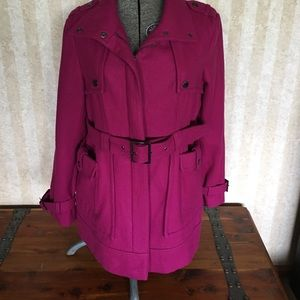Gorgeous magenta coat.