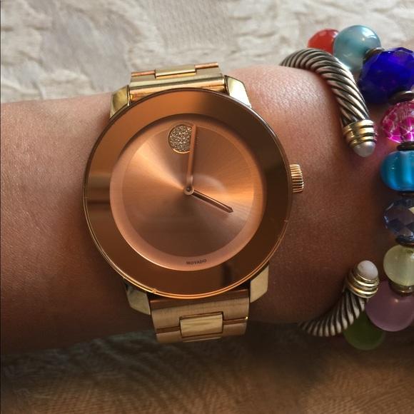 movado accessories price firmrose gold bold watch poshmark