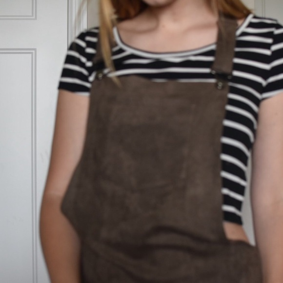 Bearsland Dresses & Skirts - Brown Suede Overall Dress