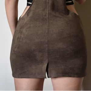 Bearsland Dresses - Brown Suede Overall Dress