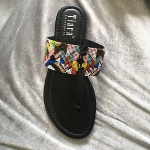 Tiara Shoes - BRAND NEW BEAUTIFUL BEADED BLACK SANDALS