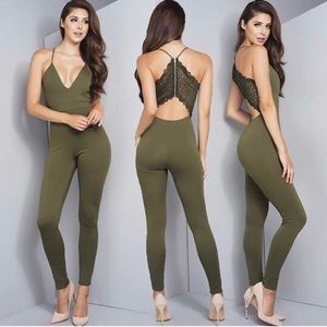 want my look Pants - Olive green jumpsuit