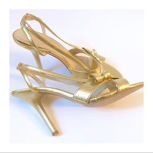 Super Fab Gold Peep Toe, Sling Back Heels, 7